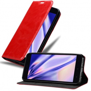 Cadorabo Hülle für Xiaomi RedMi NOTE 5A in APFEL ROT - Handyhülle mit Magnetverschluss, Standfunktion und Kartenfach - Case Cover Schutzhülle Etui Tasche Book Klapp Style