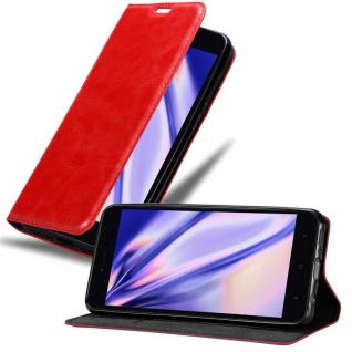 Cadorabo Hülle für Xiaomi RedMi NOTE 5A in APFEL ROT Handyhülle mit Magnetverschluss, Standfunktion und Kartenfach Case Cover Schutzhülle Etui Tasche Book Klapp Style