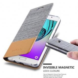 Cadorabo Hülle für Samsung Galaxy A3 2016 in HELL GRAU BRAUN - Handyhülle mit Magnetverschluss, Standfunktion und Kartenfach - Case Cover Schutzhülle Etui Tasche Book Klapp Style