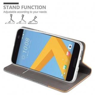 Cadorabo Hülle für HTC 10 (One M10) in HELL GRAU BRAUN - Handyhülle mit Magnetverschluss, Standfunktion und Kartenfach - Case Cover Schutzhülle Etui Tasche Book Klapp Style - Vorschau 5
