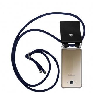 Cadorabo Handy Kette für Samsung Galaxy J7 2015 in TIEF BLAU - Silikon Necklace Umhänge Hülle mit Silber Ringen, Kordel Band Schnur und abnehmbarem Etui - Schutzhülle