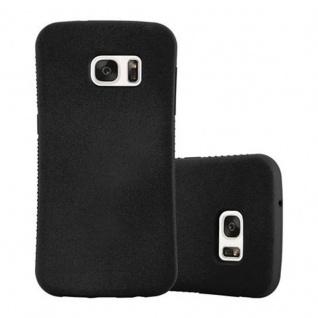 Cadorabo Hülle für Samsung Galaxy S7 - Hülle in MINERAL SCHWARZ - Small Waist Handyhülle mit rutschfestem Gummi-Rücken - Hard Case TPU Silikon Schutzhülle