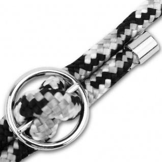 Kordel Band Handykette mit silbernen Ringen in SCHWARZ WEISS GRAU