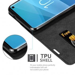 Cadorabo Hülle für Samsung Galaxy S10 in NACHT SCHWARZ - Handyhülle mit Magnetverschluss, Standfunktion und Kartenfach - Case Cover Schutzhülle Etui Tasche Book Klapp Style - Vorschau 2
