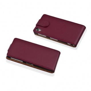 Cadorabo Hülle für Sony Xperia Z1 COMPACT in BORDEAUX LILA - Handyhülle im Flip Design aus strukturiertem Kunstleder - Case Cover Schutzhülle Etui Tasche Book Klapp Style - Vorschau 2
