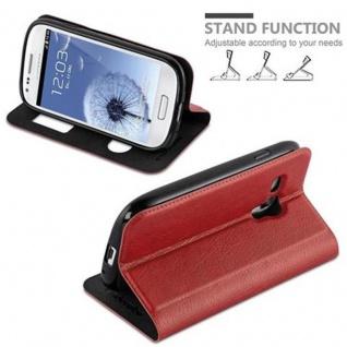 Cadorabo Hülle für Samsung Galaxy S3 MINI in SAFRAN ROT ? Handyhülle mit Magnetverschluss, Standfunktion und 2 Sichtfenstern ? Case Cover Schutzhülle Etui Tasche Book Klapp Style - Vorschau 4