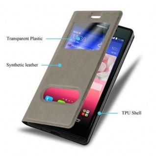 Cadorabo Hülle für Huawei P7 in STEIN BRAUN - Handyhülle mit Magnetverschluss, Standfunktion und 2 Sichtfenstern - Case Cover Schutzhülle Etui Tasche Book Klapp Style - Vorschau 3