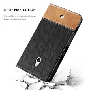 Cadorabo Hülle für Nokia Lumia 1320 in SCHWARZ BRAUN - Handyhülle mit Magnetverschluss, Standfunktion und Kartenfach - Case Cover Schutzhülle Etui Tasche Book Klapp Style - Vorschau 5