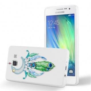 Cadorabo Hülle für Samsung Galaxy A5 2015 - Hülle im Design MOND TRAUMFÄNGER GRÜN ? Handyhülle aus TPU Silikon mit Aufdruck - Silikonhülle Schutzhülle Ultra Slim Soft Back Cover Case Bumper