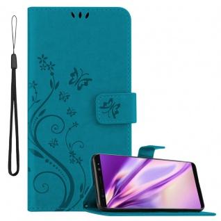 Cadorabo Hülle für Samsung Galaxy NOTE 8 in FLORAL BLAU Handyhülle im Blumen Design mit Magnetverschluss, Standfunktion und 3 Kartenfächern Case Cover Schutzhülle Etui Tasche