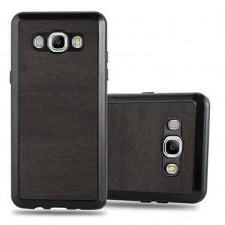 Cadorabo Hülle für Samsung Galaxy J5 2016 in WOODEN SCHWARZ ? Handyhülle aus flexiblem TPU Silikon ? Silikonhülle Schutzhülle Ultra Slim Soft Back Cover Case Bumper