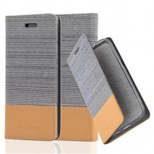 Cadorabo Hülle für Huawei P7 in HELL GRAU BRAUN Handyhülle mit Magnetverschluss, Standfunktion und Kartenfach Case Cover Schutzhülle Etui Tasche Book Klapp Style