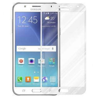 Cadorabo Vollbild Panzer Folie für Samsung Galaxy J7 2015 - Schutzfolie in TRANSPARENT mit WEISS - Gehärtetes (Tempered) Display-Schutzglas in 9H Härte mit 3D Touch Kompatibilität - Vorschau 2