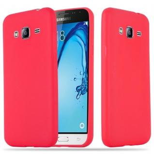 Cadorabo Hülle für Samsung Galaxy J3 / J3 DUOS 2016 in CANDY ROT - Handyhülle aus flexiblem TPU Silikon - Silikonhülle Schutzhülle Ultra Slim Soft Back Cover Case Bumper