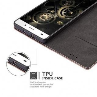 Cadorabo Hülle für Huawei P8 LITE 2015 in GOLD SCHWARZ - Handyhülle mit Magnetverschluss, Standfunktion und Kartenfach - Case Cover Schutzhülle Etui Tasche Book Klapp Style - Vorschau 4