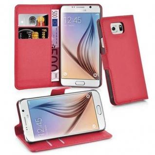 Cadorabo Hülle für Samsung Galaxy S6 in KARMIN ROT - Handyhülle mit Magnetverschluss, Standfunktion und Kartenfach - Case Cover Schutzhülle Etui Tasche Book Klapp Style