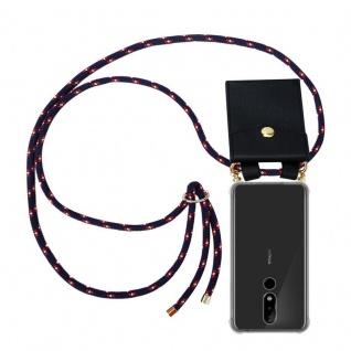 Cadorabo Handy Kette für Nokia 5.1 Plus in BLAU ROT WEISS GEPUNKTET - Silikon Necklace Umhänge Hülle mit Gold Ringen, Kordel Band Schnur und abnehmbarem Etui ? Schutzhülle