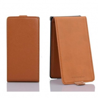 Cadorabo Hülle für Sony Xperia S in COGNAC BRAUN - Handyhülle im Flip Design aus strukturiertem Kunstleder - Case Cover Schutzhülle Etui Tasche Book Klapp Style - Vorschau 2