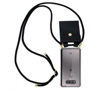 Cadorabo Handy Kette für LG V20 in SCHWARZ - Silikon Necklace Umhänge Hülle mit Gold Ringen, Kordel Band Schnur und abnehmbarem Etui ? Schutzhülle