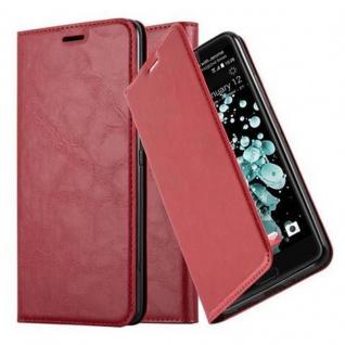 Cadorabo Hülle für HTC U ULTRA in APFEL ROT Handyhülle mit Magnetverschluss, Standfunktion und Kartenfach Case Cover Schutzhülle Etui Tasche Book Klapp Style
