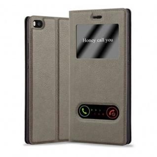 Cadorabo Hülle für Huawei P8 in STEIN BRAUN - Handyhülle mit Magnetverschluss, Standfunktion und 2 Sichtfenstern - Case Cover Schutzhülle Etui Tasche Book Klapp Style