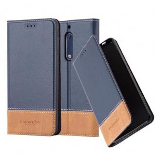 Cadorabo Hülle für Nokia 5 2017 in BLAU BRAUN Handyhülle mit Magnetverschluss, Standfunktion und Kartenfach Case Cover Schutzhülle Etui Tasche Book Klapp Style