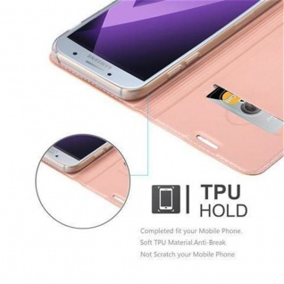 Cadorabo Hülle für Samsung Galaxy A3 2017 in CLASSY ROSÉ GOLD - Handyhülle mit Magnetverschluss, Standfunktion und Kartenfach - Case Cover Schutzhülle Etui Tasche Book Klapp Style - Vorschau 2