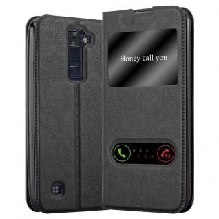 Cadorabo Hülle für LG K8 2016 in KOMETEN SCHWARZ - Handyhülle mit Magnetverschluss, Standfunktion und 2 Sichtfenstern - Case Cover Schutzhülle Etui Tasche Book Klapp Style