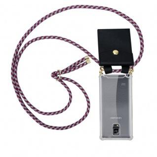 Cadorabo Handy Kette für Samsung Galaxy NOTE 4 in ROT WEISS - Silikon Necklace Umhänge Hülle mit Gold Ringen, Kordel Band Schnur und abnehmbarem Etui ? Schutzhülle
