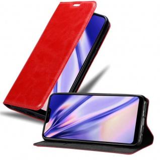 Cadorabo Hülle für Vivo Y81i in APFEL ROT Handyhülle mit Magnetverschluss, Standfunktion und Kartenfach Case Cover Schutzhülle Etui Tasche Book Klapp Style