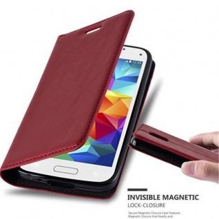 Cadorabo Hülle für Samsung Galaxy S5 MINI / S5 MINI DUOS in APFEL ROT Handyhülle mit Magnetverschluss, Standfunktion und Kartenfach Case Cover Schutzhülle Etui Tasche Book Klapp Style