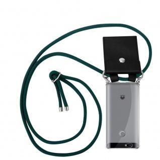 Cadorabo Handy Kette für Huawei NOVA in ARMEE GRÜN Silikon Necklace Umhänge Hülle mit Silber Ringen, Kordel Band Schnur und abnehmbarem Etui Schutzhülle