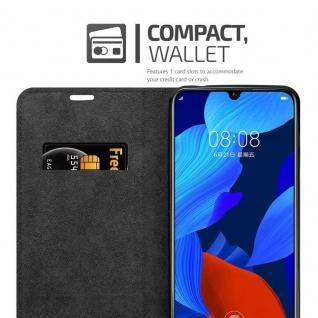 Cadorabo Hülle für Huawei NOVA 5 / 5 PRO in NACHT SCHWARZ - Handyhülle mit Magnetverschluss, Standfunktion und Kartenfach - Case Cover Schutzhülle Etui Tasche Book Klapp Style - Vorschau 3
