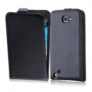 Cadorabo Hülle für Samsung Galaxy NOTE 1 in KAVIAR SCHWARZ - Handyhülle im Flip Design aus glattem Kunstleder - Case Cover Schutzhülle Etui Tasche Book Klapp Style