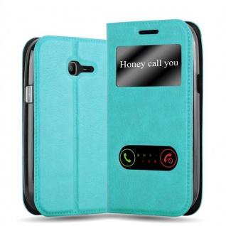 Cadorabo Hülle für Samsung Galaxy TREND LITE in MINT TÜRKIS - Handyhülle mit Magnetverschluss, Standfunktion und 2 Sichtfenstern - Case Cover Schutzhülle Etui Tasche Book Klapp Style