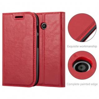 Cadorabo Hülle für Motorola MOTO E1 in APFEL ROT Handyhülle mit Magnetverschluss, Standfunktion und Kartenfach Case Cover Schutzhülle Etui Tasche Book Klapp Style - Vorschau 2