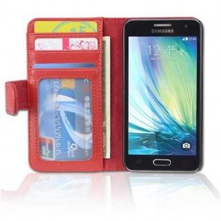 Cadorabo Hülle für Samsung Galaxy A3 2015 in INFERNO ROT ? Handyhülle mit Magnetverschluss und 3 Kartenfächern ? Case Cover Schutzhülle Etui Tasche Book Klapp Style - Vorschau 5
