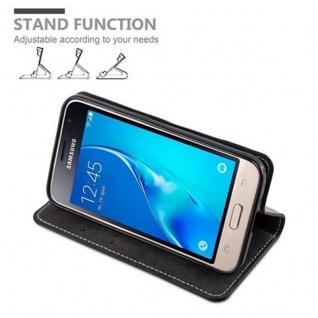 Cadorabo Hülle für Samsung Galaxy J1 2016 in SCHWARZ BRAUN ? Handyhülle mit Magnetverschluss, Standfunktion und Kartenfach ? Case Cover Schutzhülle Etui Tasche Book Klapp Style - Vorschau 3
