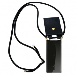 Cadorabo Handy Kette für Nokia 3 2017 in SCHWARZ ? Silikon Necklace Umhänge Hülle mit Gold Ringen, Kordel Band Schnur und abnehmbarem Etui ? Schutzhülle