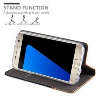 Cadorabo Hülle für Samsung Galaxy S7 in DUNKEL BLAU BRAUN - Handyhülle mit Magnetverschluss, Standfunktion und Kartenfach - Case Cover Schutzhülle Etui Tasche Book Klapp Style - Vorschau 3