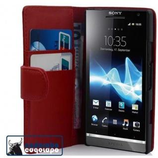 Cadorabo Hülle für Sony Xperia S in CHILI ROT - Handyhülle aus glattem Kunstleder mit Standfunktion und Kartenfach - Case Cover Schutzhülle Etui Tasche Book Klapp Style