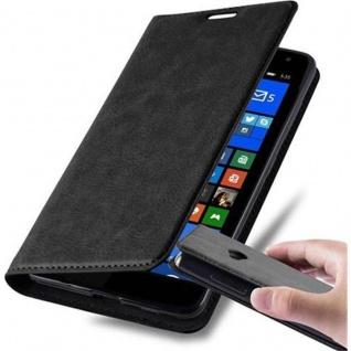 Cadorabo Hülle für Nokia Lumia 535 in NACHT SCHWARZ - Handyhülle mit Magnetverschluss, Standfunktion und Kartenfach - Case Cover Schutzhülle Etui Tasche Book Klapp Style