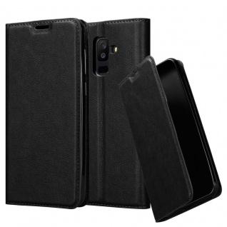 Cadorabo Hülle für Samsung Galaxy A6 PLUS 2018 in NACHT SCHWARZ - Handyhülle mit Magnetverschluss, Standfunktion und Kartenfach - Case Cover Schutzhülle Etui Tasche Book Klapp Style