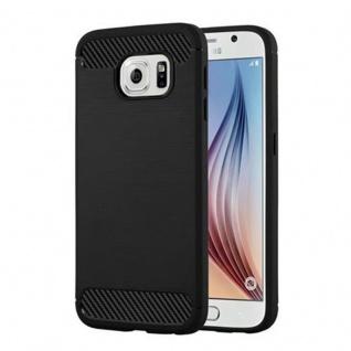 Cadorabo Hülle für Samsung Galaxy S6 - Hülle in BRUSHED SCHWARZ - Handyhülle aus TPU Silikon in Edelstahl-Karbonfaser Optik - Silikonhülle Schutzhülle Ultra Slim Soft Back Cover Case Bumper