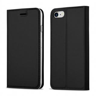 Cadorabo Hülle für Apple iPhone 8 / iPhone 7 / iPhone 7S in CLASSY SCHWARZ - Handyhülle mit Magnetverschluss, Standfunktion und Kartenfach - Case Cover Schutzhülle Etui Tasche Book Klapp Style