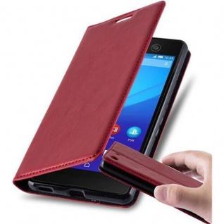 Cadorabo Hülle für Sony Xperia M5 in APFEL ROT - Handyhülle mit Magnetverschluss, Standfunktion und Kartenfach - Case Cover Schutzhülle Etui Tasche Book Klapp Style