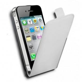 Cadorabo Hülle für Apple iPhone 4 / iPhone 4S in POLAR WEIß - Handyhülle im Flip Design aus glattem Kunstleder - Case Cover Schutzhülle Etui Tasche Book Klapp Style