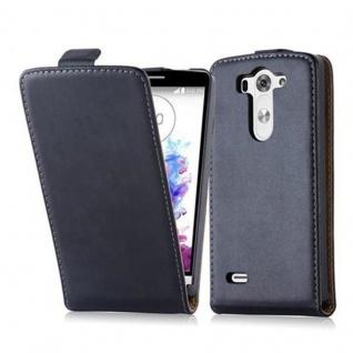 Cadorabo Hülle für LG G3 MINI / G3 S in KAVIAR SCHWARZ - Handyhülle im Flip Design aus glattem Kunstleder - Case Cover Schutzhülle Etui Tasche Book Klapp Style