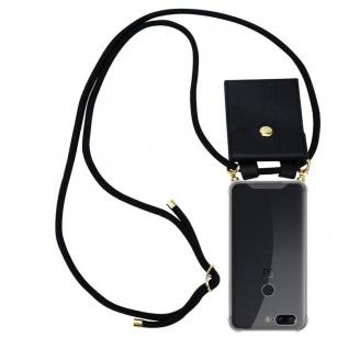 Cadorabo Handy Kette für OnePlus 5T in SCHWARZ Silikon Necklace Umhänge Hülle mit Gold Ringen, Kordel Band Schnur und abnehmbarem Etui Schutzhülle