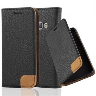 Cadorabo Hülle für Samsung Galaxy J1 2016 (6) - Hülle in SIGNAL SCHWARZ - Handyhülle mit Standfunktion, Kartenfach und Textil-Patch - Case Cover Schutzhülle Etui Tasche Book Klapp Style